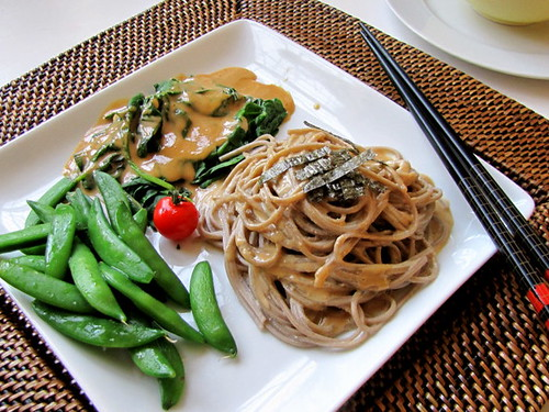 Cold Soba and Vegetables with Cashew Butter Sauce