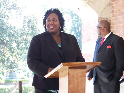 State Director Trina N. George addresses an appreciative crowd of over 100 people in Fayette, Mississippi, which will be the location of a new library funded by grant and loan funds from the Recovery Act of 2009