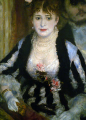Renoir, La Loge with detail of female figure