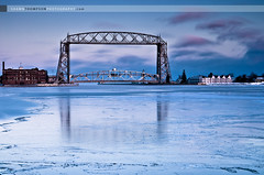 After Glow Hues of Blue (Shawn Thompson - Lake Superior Photographer) Tags: winter lighthouse snow ice bayfront canalpark duluthaerialliftbridge ligftbridge