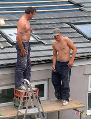 My Builders 0383 - Three Bare Builders stripping down for Summer (marmaset) Tags: summer sun man male men home flesh yard work real outdoors three back workmen pants hole skin phil ben masculine mark bare garage chest cardiff tan council worker local threesome rough straight build heterosexual trade mybackyard tanning canton builder alterations reallife contractors workie