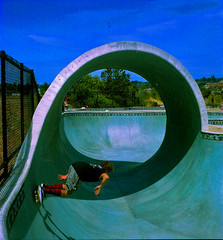 wave pool (Natural Light Seeker) Tags: california ca usa santacruz film sc mediumformat square barrel wave noflash skatepark bayarea skater backside westside norcal westcoast oldskool yashica greenroom twinlens wavepool yashica124 scphoto