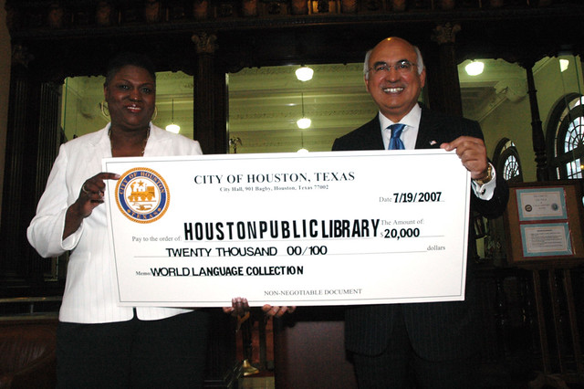 Council Member M J Khan Donates 20000 to Expand the Houston Public Librarys World Languages Collection by Houston Public Library
