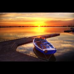L'Alba Calma 2 (Dimitri Depaepe) Tags: reflection water clouds sunrise boat bravo raw hdr magicdonkey anawesomeshot superaplus superbmasterpiece infinestyle thegoldenmermaid