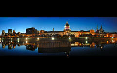 Old Montreal Skyline at the Blue Hour panorama (David Giral | davidgiralphoto.com) Tags: old longexposure blue urban chien canada david reflection skyline architecture port nikon long exposure cityscape searchthebest market quebec montreal landmark hour entre loup d200 et marché vieux bonsecours giral nikond200 18200mmf3556gvr copyrightdgiral davidgiral