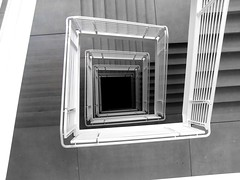 Crazy Stairs (outcast104) Tags: bw white black stairs crazy shadows gray down handrail grayscale stewie outcast104