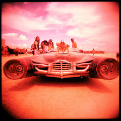 Rocket Car! (pixietart) Tags: friends film nycpb square holga xpro dinosaur nevada playa blackrockcity velvia artcar rocketcar 500x500 burningman2007
