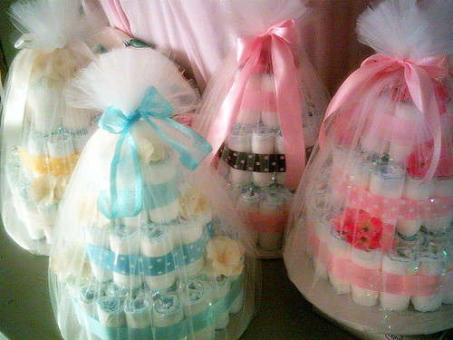 3 Tiered Diaper Cakes Wrapped By Angelina's Gifts