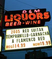 D&M Liquors (ewar woowar) Tags: sanfrancisco california red usa art beer sign wine guitar dollar liquors now reg flamenco garnacha tempranillo neaon