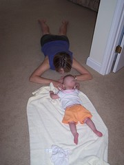 Trying to make tummy time a little more fun... (rhetthughes) Tags: farrah month6 rylie
