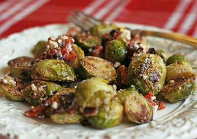 Olive Brussels Sprouts with Feta, Roasted Red Peppers and Bacon