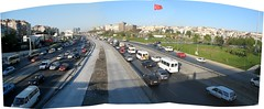 Istanbul Highway and Flag (brunoboris) Tags: turkey highway traffic motorway flag istanbul freeway congestion