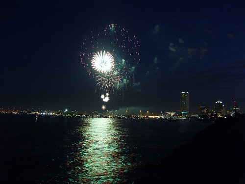 Fireworks from the breakwater