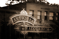 Antiques & Appraisals (josstyk) Tags: window sign shop sepia vintage etching mission antiques southpasadena appraisals