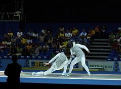 Pan Am Games: Women's Foil Fencing (Mondmann) Tags: brazil latinamerica southamerica sports rio brasil riodejaneiro foil games fencing athlete esgrima esporte esportes jogos escrime fencer fechten panamericangames pan2007 jogospanamericanos panamgames fujifilmfinepixf31fd xvjogospanamericanos xvpanamericangames womensindividualfoil