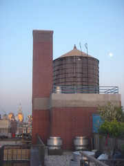moon over water tower . (Neubie) Tags: nyc newyorkcity roof sunset moon ny rooftop manhattan watertower 14thstreet greenwichvillage daytimemoon sunatmyback reflectingsun