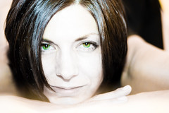 Green Eyed Lady (tappit_01) Tags: portrait woman green smile face heidi eyes women pretty head highcontrast her greeneyes playful vixen 400d