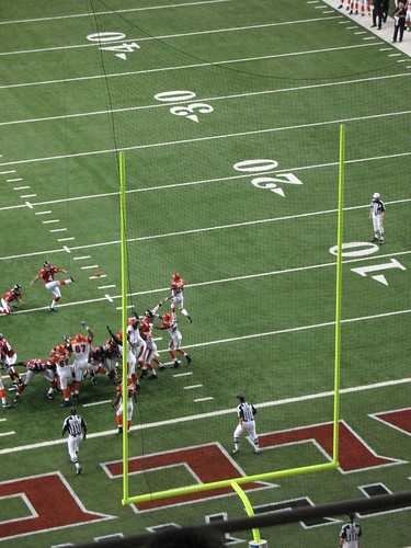 View of football goalposts during an extra point attempt.