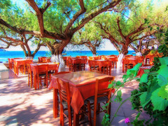 Taverna Christos Plakias Crete (Wolfgang Staudt) Tags: ocean travel sunset sky mountains beach water colors beautiful umbrella island coast amazing nikon holidays colorful europe nikond70 stones tripod kreta sigma greece crete winner excellent taverna greekislands griechenland hdr taverne mediterranian plakias travelphotographie    hellenicrepublic flickrcolour wolfgangstaudt anawesomeshot 66111  tavernachristosjewel