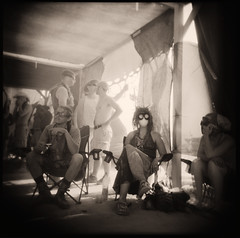 Dust Storm Oasis (pixietart) Tags: bw film nycpb square holga desert nevada goggles playa blackrockcity gothamist duststorm burningman2007 waitingitout randomcamp