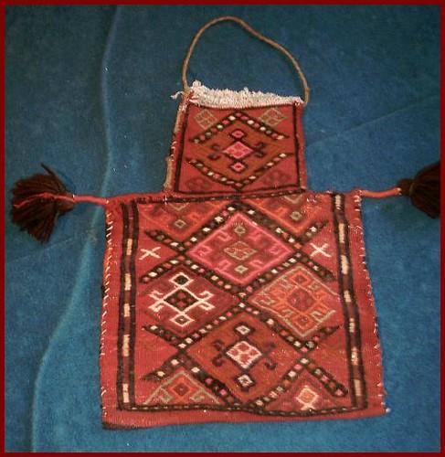 Old emboidered kilim saltbag from Kurdish Iran