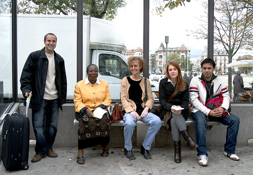 """TCFIL Group Portraits"" at the tram stops in Geneva, Switzerland"