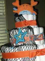 Crab Diaper Cake- view 2 (kelli.bergin) Tags: blue orange baby cute diy unique crafts crab sealife diapers babyshower diapercake uniquegift nappycake uniquebabygifts uniquebabygift crabdiapercake
