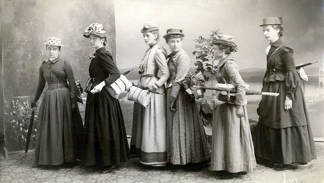MAJ (far left) and students from the class of 1890 ready for a hiking trip. (Courtesy, Smith College Archives)