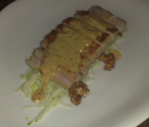 pork belly, cabbage, apple, candied walnuts, mustard sauce