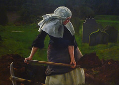 Millais's The Vale of Rest with detail of nun digging