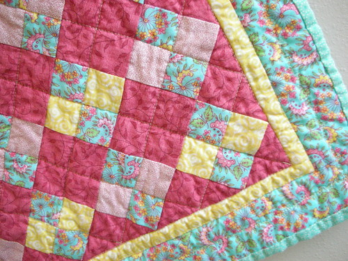 Close-up of Squares on Point Mini Quilt
