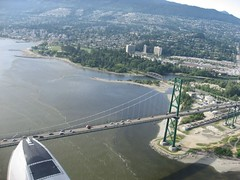 Flying over Vancouver by seaplane.