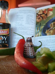 Chillis, Pepper, Soy Sauce And A Clove Of Dalek (Kaptain Kobold) Tags: red food green cooking kitchen monster pepper book cookbook bottle alien explore doctorwho soysauce drwho dalek chilli msh pun choppingboard cookery amoy kaptainkobold yourfave interestingness252 i500 msh1207 msh120716