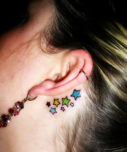 multi color Small Star Tattoo Design