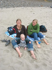we three on the beach (carolyn_in_oregon) Tags: baby beach me oregon coast alicia pacificocean oswaldweststatepark chiron shortsandsbeach