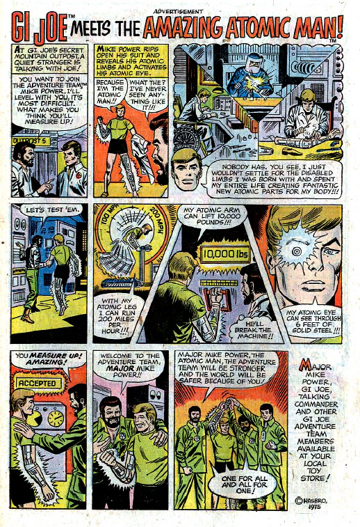 Comic book-format ad for GI Joe's Major Mike Power: The Amazing Atomic Man