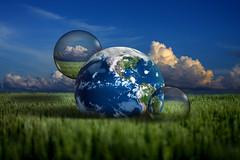 Green Planet (Carlos Gotay Martnez) Tags: blue sky green field grass clouds energy earth digitalart planet spheres greenenergy greenpower energysaving energyconservation energyefficiency mywinners aplusphoto
