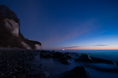 Morning Blue, Rgen, Mecklenburg-Vorpommern, Germany (Xindaan) Tags: ocean longexposure morning sea sky cliff beach nature rock night strand germany stars landscape geotagged outdoors island deutschland dawn c