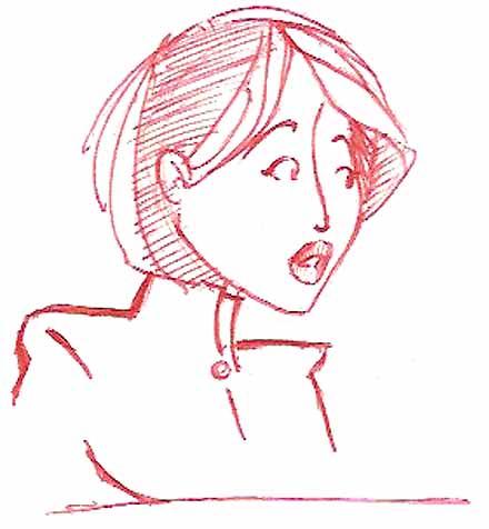 ilustração de rosto de japonesa com cabelo chanel e expressão espantada