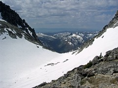 At the Col between Dragontail and Colchuck looking S. into Teanaway and Hardscrabble Creek.