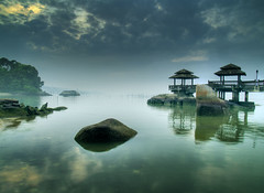 Misty Morning (espion) Tags: morning sea sky misty sunrise reflections pier rocks gloomy shoreline 100v10f soe hdr pulauubin blueribbonwinner 1000v outstandingshots 200viewswinner abigfave shieldofexcellence anawesomeshot fm20024 hdrselect