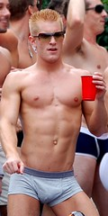 Red Cup (evanembee) Tags: shirtless chicago man men pecs chest pride dancer parade gogo gaypride 2007