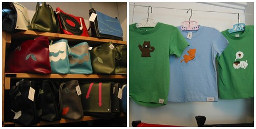 bags and t-shirts at the Queen Bee studio