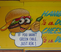 Like, duh. (bloomgal) Tags: food newmexico sign yellow booth albuquerque cheeseburger vendor hamburgler jalapeño greenchile exponewmexico statefair2007