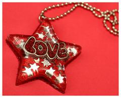 Love Machine SuperStar 09-28-07 (stOOpidgErL) Tags: love glitter stars diy necklace big handmade craft jewelry plastic bling resin superstar pendant stoopidgerl resincasting