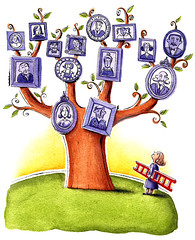 Family Tree (maralina!) Tags: tree art illustration portraits magazine watercolor painting drawing aquarelle dessin ancestor frame genealogy familytree editorial ladder examine arbre investigate ancestry echelle surprises