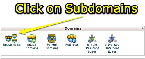 cPanel - Subdomains