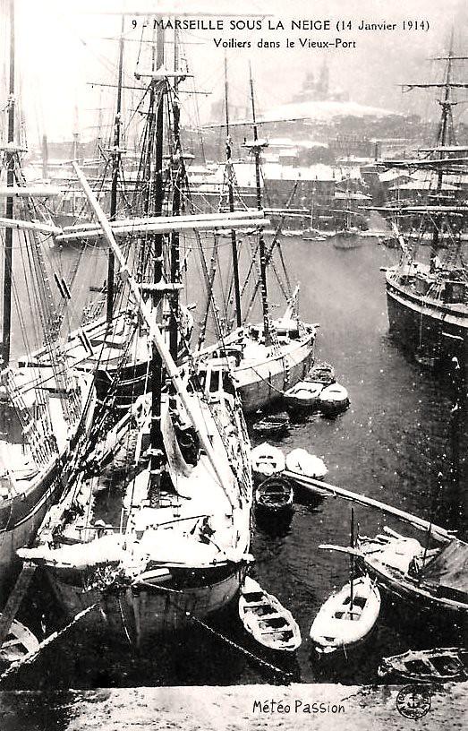 Vieux Port de Marseille sous la neige le 14 janvier 1914