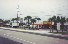 North side of Front Beach Rd with Gulfworld and The Fun Ship Arcade and Deli. Panama City Beach, Florida. May 1987 (stevesobczuk) Tags: