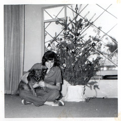 mom with christmas tree and dog by freeparking on Flickr!